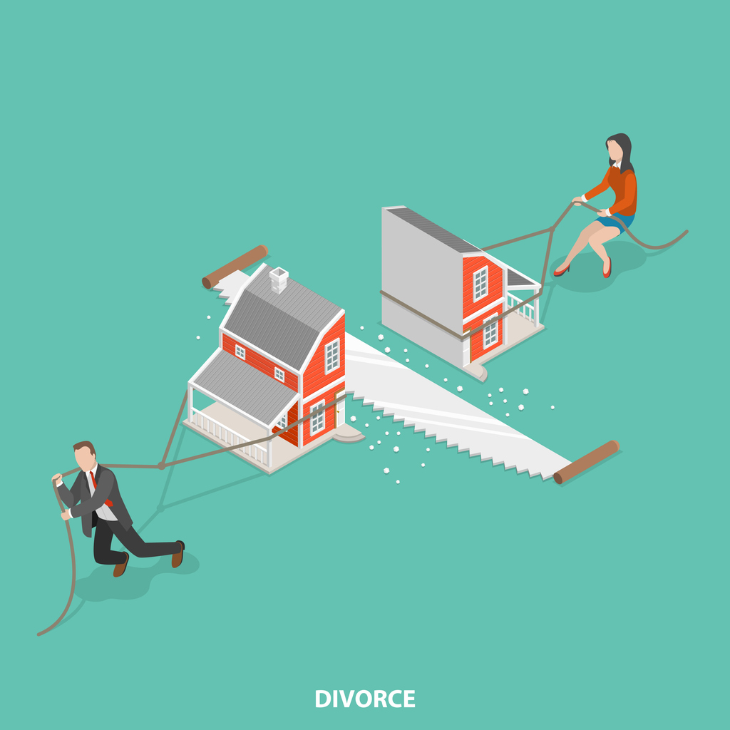 Cartoon of Husband and Wife Dividing House in Divorce with Saw