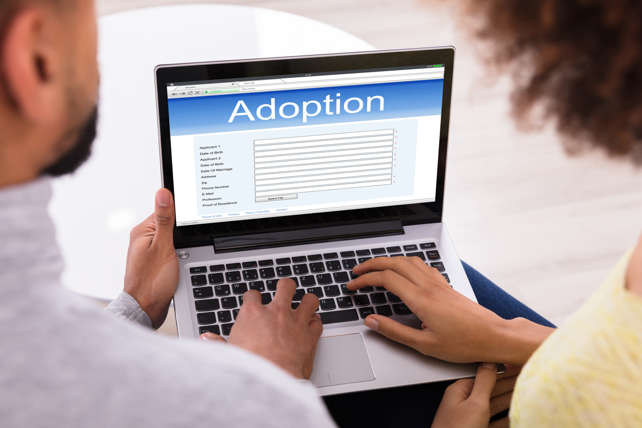 Couple looking at an adoption form online