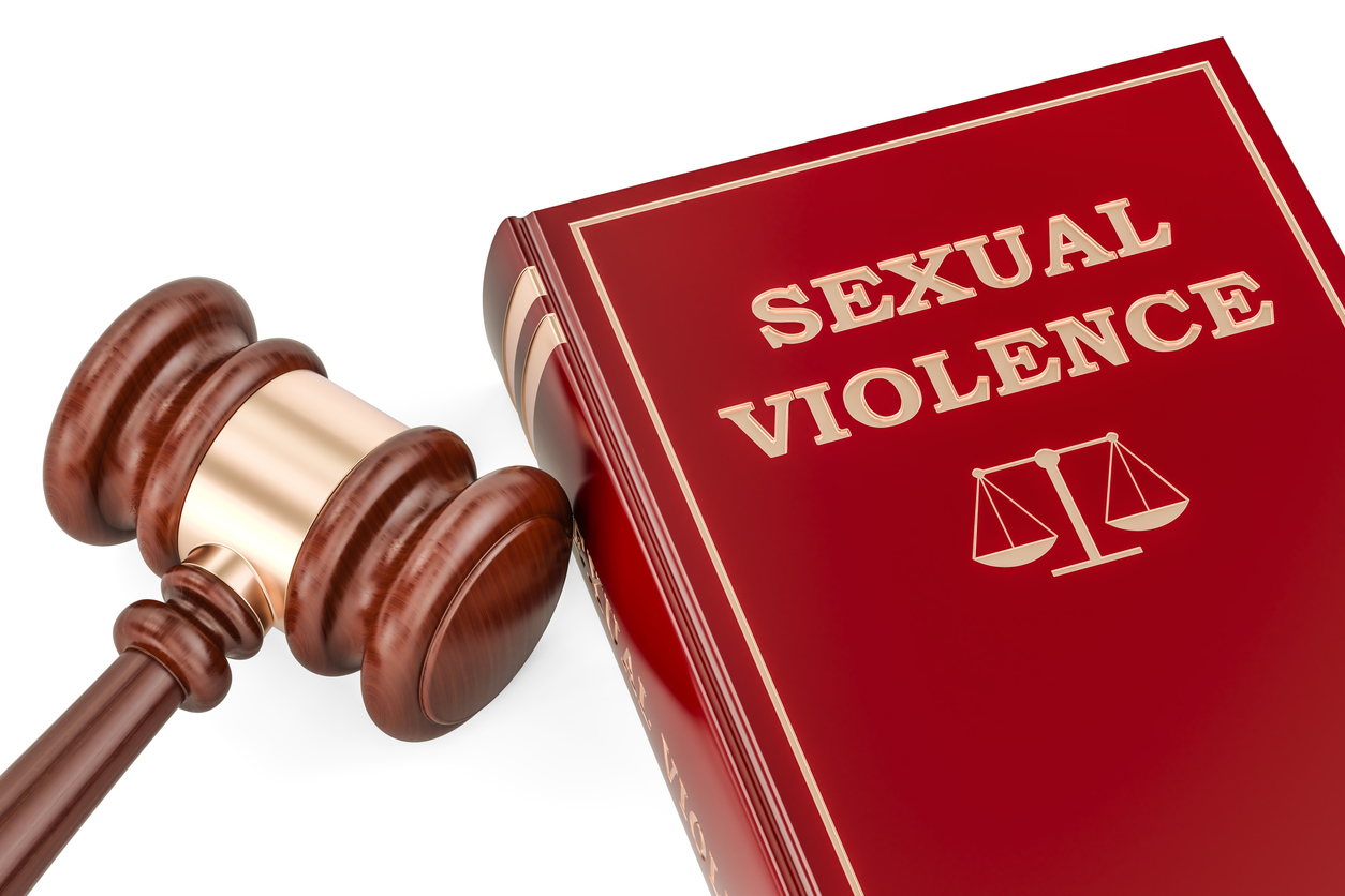 Sexual violence law book with gavel