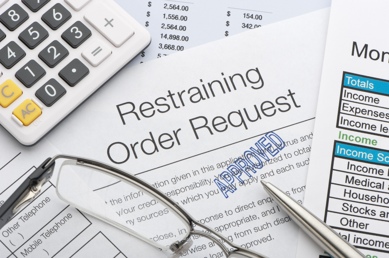 Close up of approved restraining order request
